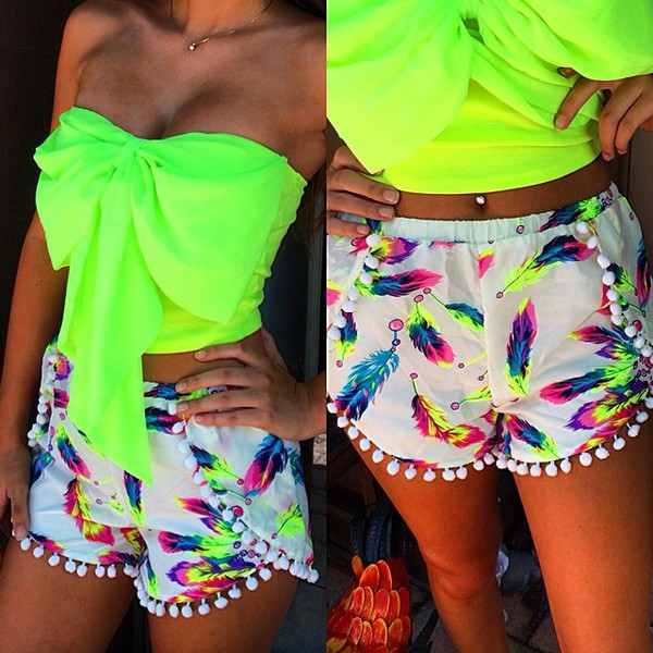 1a62d67a25f6 feathers bright strechmaterial top luminous yellow shirt neon green skirt  bag dolphin shorts shorts