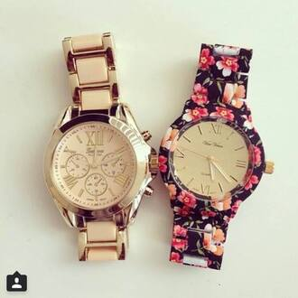 jewels flowered clock watch hour clock floral sweet geneva watch