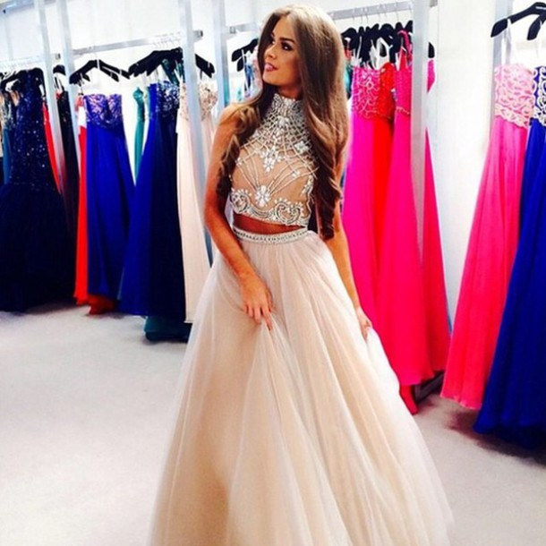 Custom made light champagne 2 pieces long prom dress, dresses for prom