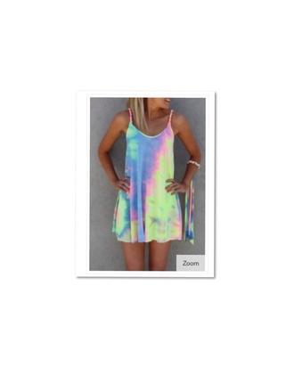 dress tie dye boho rainbow dress
