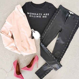 top graphic tee graphic top crop tops graphic crop tops leggings jeans bomber jacket blush pink gojane