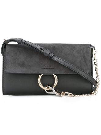 women bag crossbody bag leather cotton suede grey