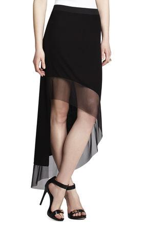 Erin Ribbed Contrast-Hem Skirt | BCBG