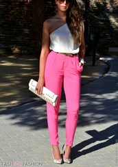 blouse,pants,trouser,pink,high waisted,belt,clutch,bag,outfit,white,studded,shoes,jewelry,fashion,spring,summer,girly,sunglasses,animal print high heels,snake,one shoulder,off the shoulder,pleated