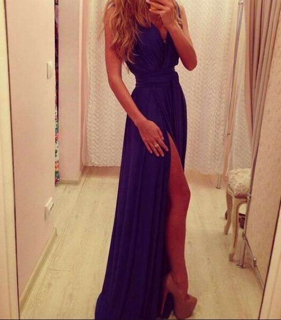 Soft cute long sexy show body dress purple chiffon dress