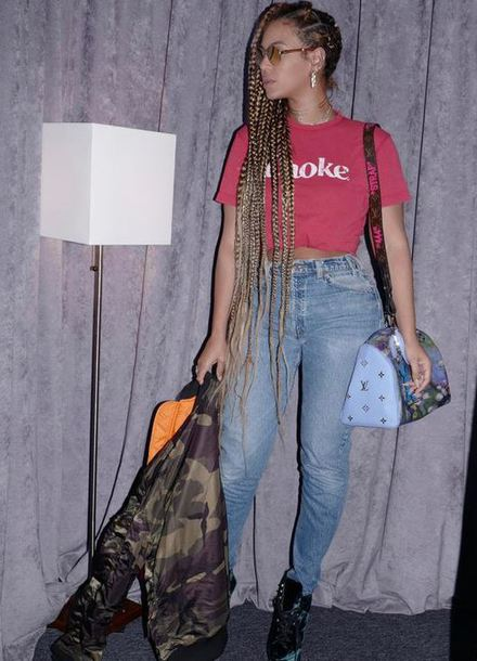 t-shirt top jeans jacket camouflage camo jacket beyonce bag