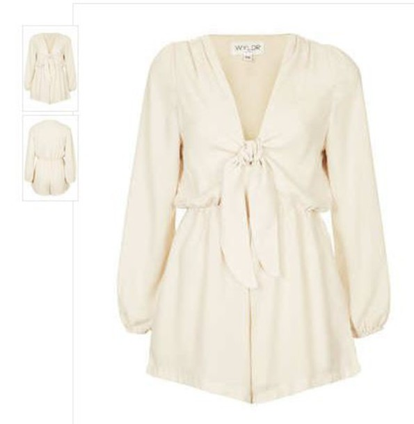 jumpsuit white bows cream