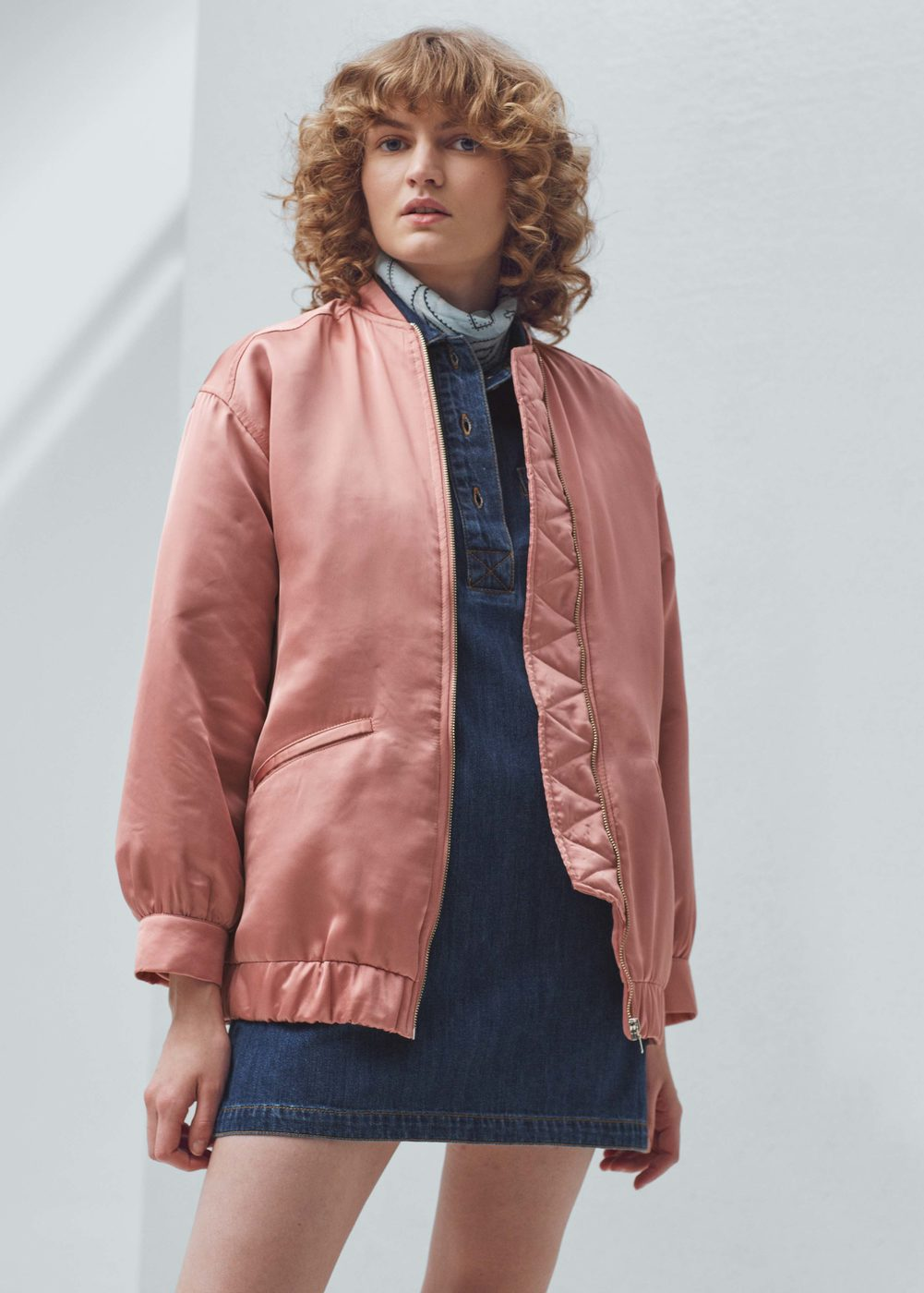 Satin Bomber Jacket Women Mango Usa