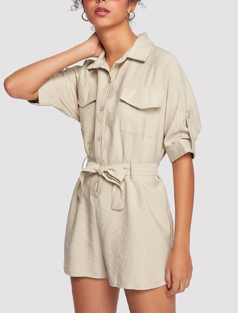 romper girly girl girly wishlist nude tan trendy summer summer outfits one piece button up khaki