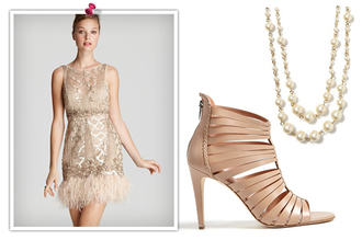 dress the great gatsby charleston retro glitter beige modern glitter dress feathers nude jewels