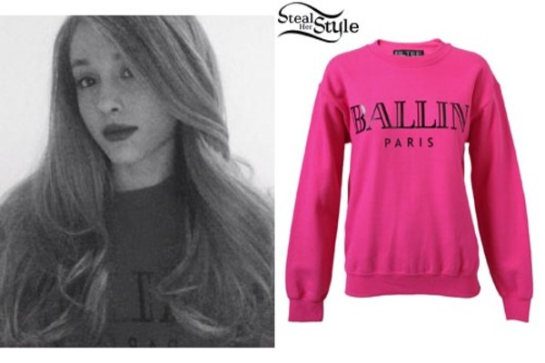 shirt ariana grande sweater pink sweater ballin paris