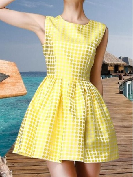 Dress: yellow, yellow dress, short party dresses, beauty ...