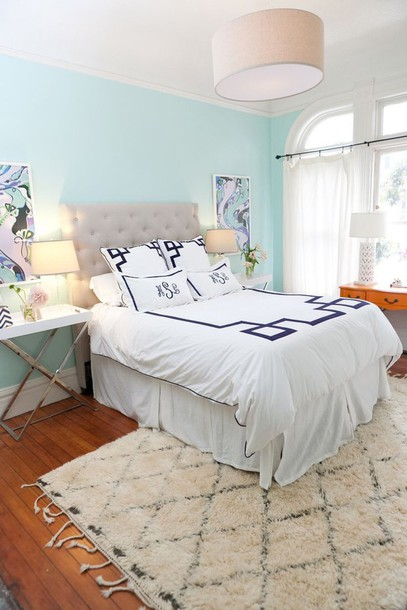 Home accessory navy white bedding preppy bedding - Chambre couleur pastel ...