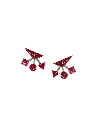 women geometric earrings red jewels