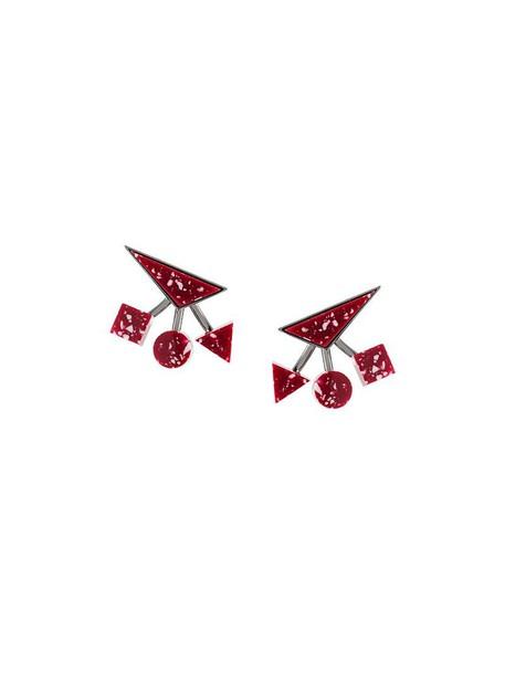 ESHVI women geometric earrings red jewels