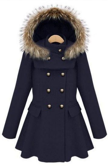 Navy Stand Collar Ruffles Buttons Coat