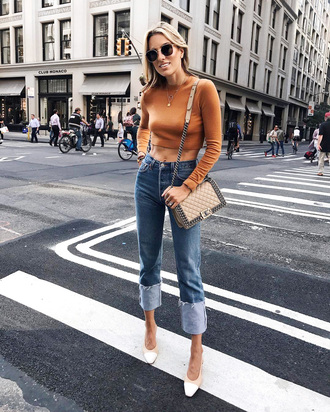 jeans tumblr denim blue jeans cuffed jeans top rust crop tops long sleeves long sleeve crop top shoes bag sunglasses