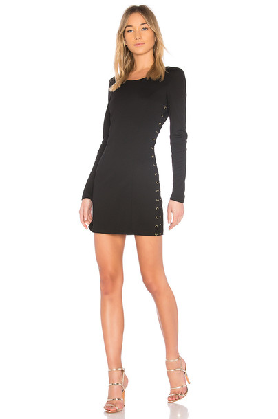 bobi dress lace up dress matte lace black knit