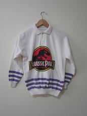 shirt,jurassic park,white,retro,90s style,polo shirt,t-shirt,sweater