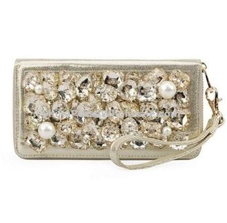 jewels wallet pearl rhinestones bag clutch gold fancy clubwear party