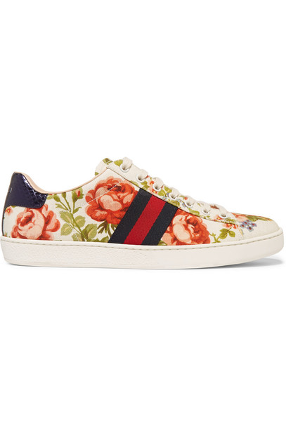 new sneakers floral print rose white off-white shoes