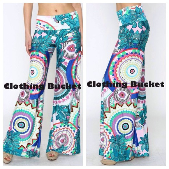 green pants palazzo palazzo pants fold over waist paisley bohemian pants geometric print wide leg pants
