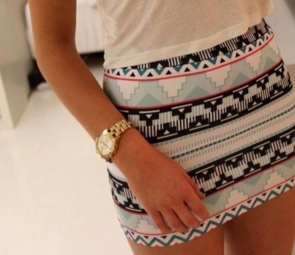 skirt blue black white pink jewels aztec skirt cute