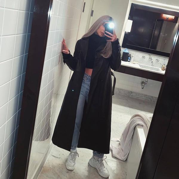 coat jeans denim cropped turtleneck kylie jenner kardashians celebrity instagram fall outfits