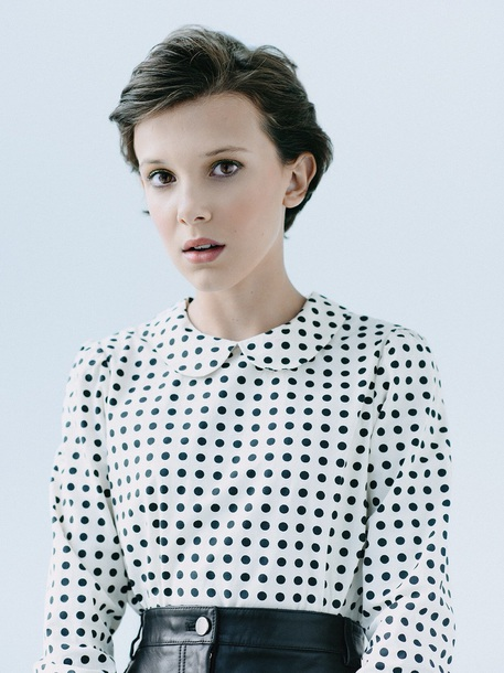 blouse black and white polka dots millie bobby brown
