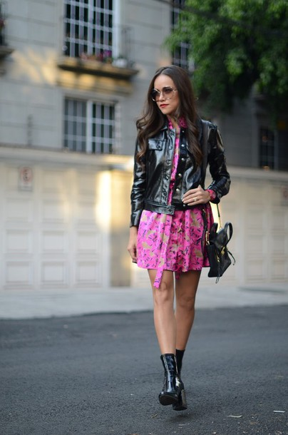 dress tumblr pink dress mini dress jacket black jacket black leather jacket leather jacket bag black bag boots black boots ankle boots sunglasses round sunglasses fall outfits date outfit