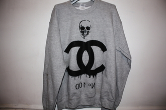 sweater skull grey sweater