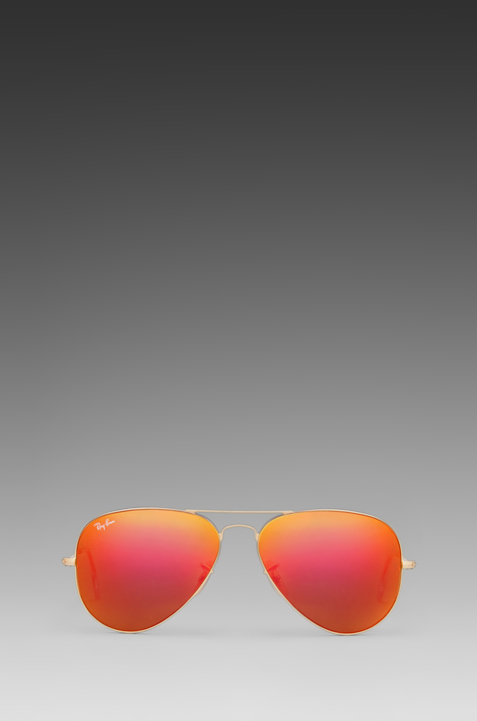 Ray-Ban Large Metal Flash Lense Aviator in Matte Gold & Crystal Orange Mirror | REVOLVE