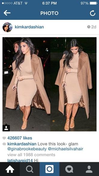 dress kim kardashian turtleneck pencil dress bodycon dress