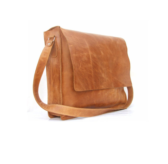 Messenger bag Mens Women Unisex Brown Leather Satchel by abizema