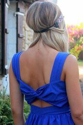 dress,blue,ouverte dans le dos,noeud,bretelle,robe patineuse,hair accessory