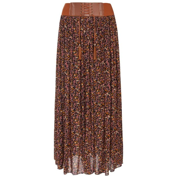 Cameo Rose Tan and Pink Ditsy Floral Belted Maxi Skirt - Polyvore