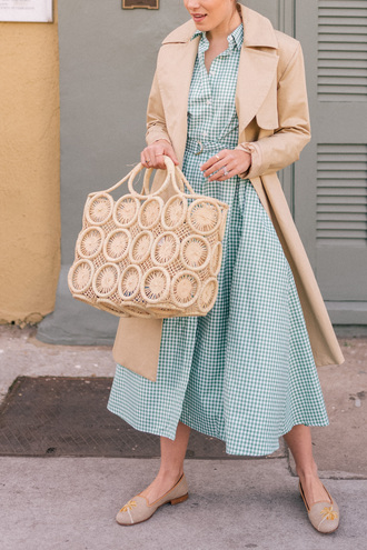 gal meets glam blogger dress coat shoes hat bag nude coat spring outfits gingham dresses blue dress midi dress ballet flats