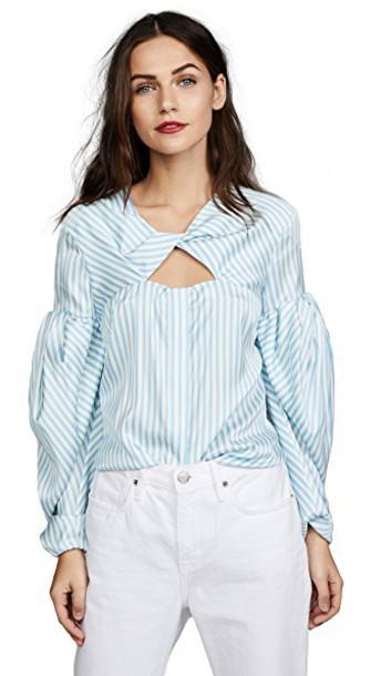 Hellessy blouse blue sky blue top