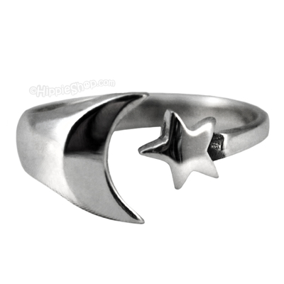 Moon & Star Sterling Silver Ring on Sale for $14.99 at HippieShop.com