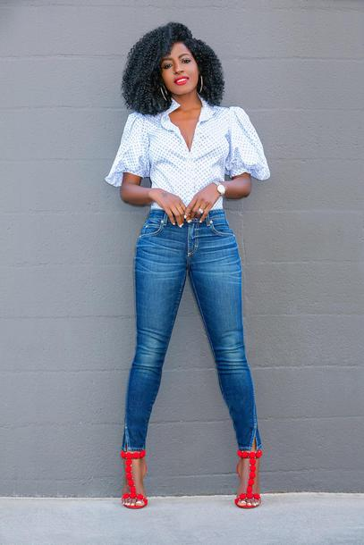 blogger shirt jeans shoes skinny jeans sandals red heels spring outfits
