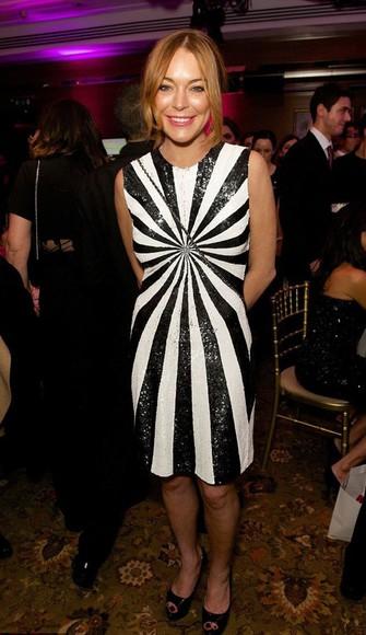 dress sparkly sequin dress black and white lindsay lohan sequins