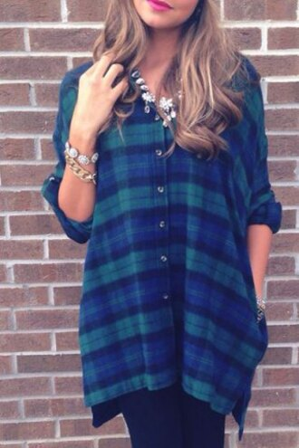 blouse plaid green blue fashion style preppy style polo collar plaid slit long sleeve blouse for women long sleeves cool grunge streetwear