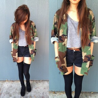 jacket vintage army military style army green jacket tumblr hipster camouflage tank top shorts