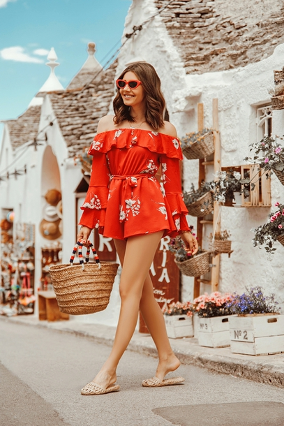 romper floral floral romper red romper shoes bag sunglasses summer