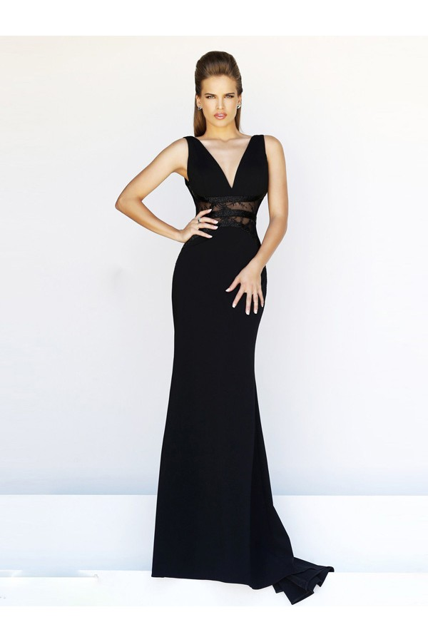 A-line Straps Sleeveless Chiffon Black Evening Gowns With Lace