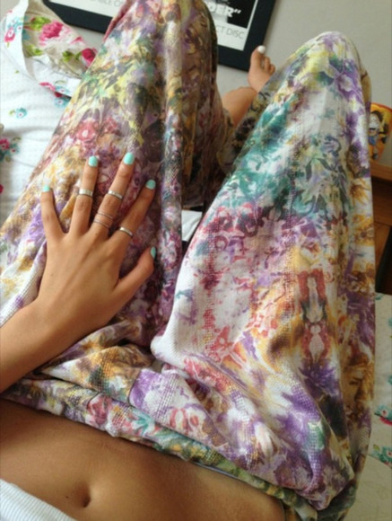 pants harem rainbow tumblr hippie cute boho flowers