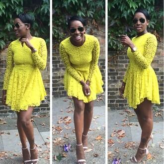 yellow dress skater dress lace dress skaterdress