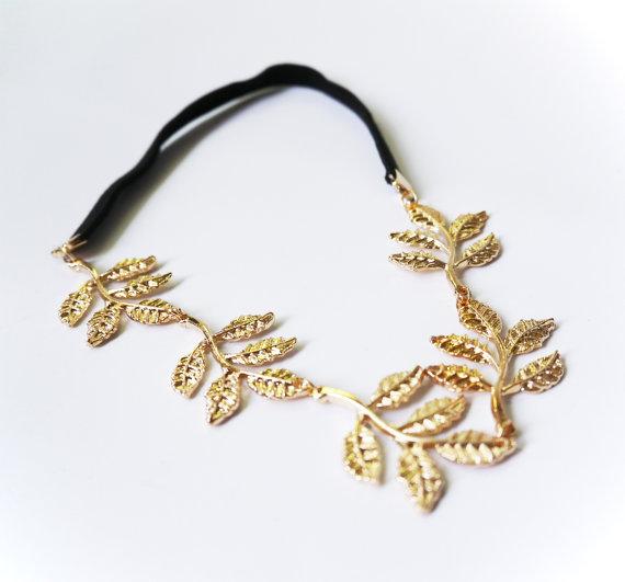 Gold shiny leaf headband wedding headpiece bridal hair by lintoon