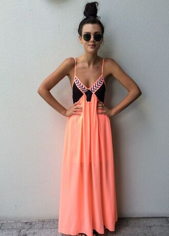 dress maxi dress pink boho tribal pattern maxi skirt