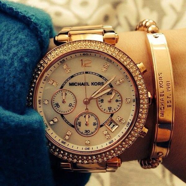jewels mk' michael kors watch time watch gold watch